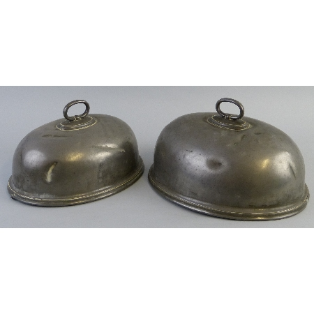 A Victorian graduated pair of pewter game covers