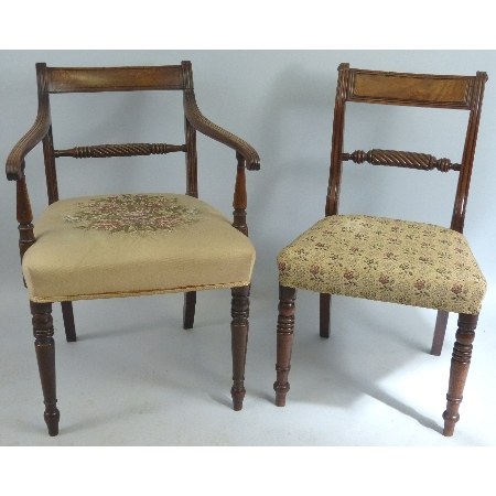 A Harlequin set of six 19th Century mahogany dining chairs