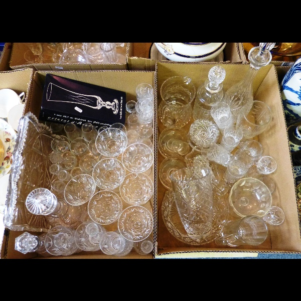 Two boxes of glassware to include decanters