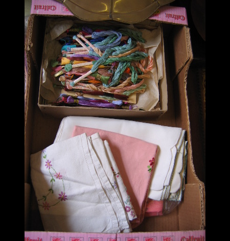 A small quantity of embroidery silks